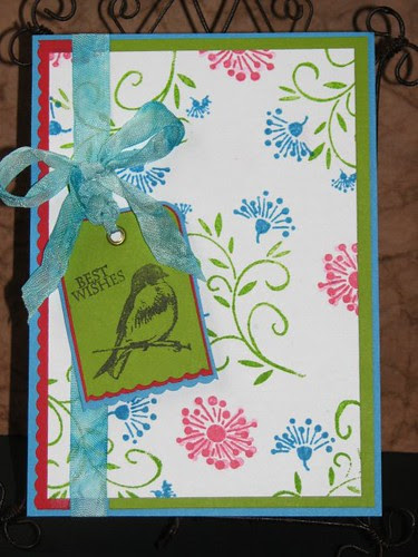 Best Wishes - Fiesta Ware Inspired Card - Ink Stained Roni 001