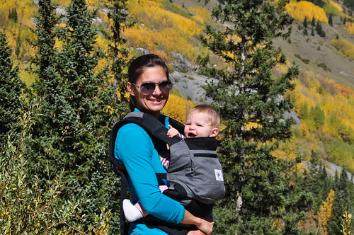a happy baby at the end of a hike?  that's a first!