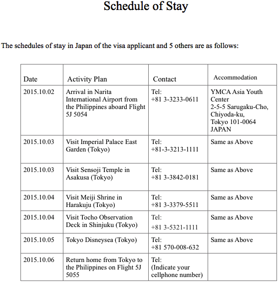 Schedule of stay japan pdf