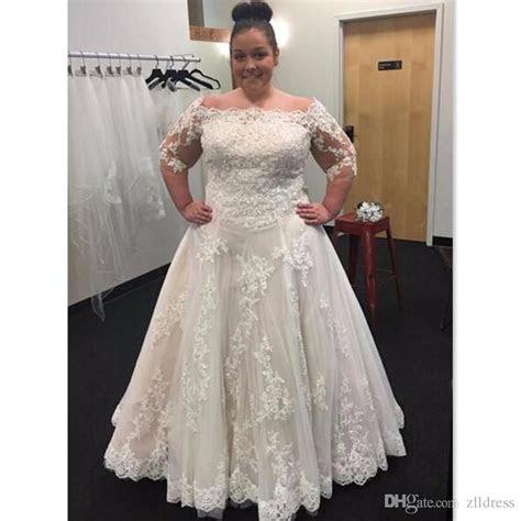 Discount 2017 Plus Size Wedding Dresses Off Shoulder A