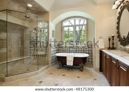 Master Bath In Luxury Home With Glass Shower Stock Photo 48175300 ...