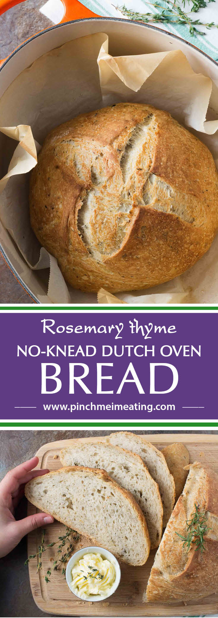 Rosemary Thyme No-Knead Dutch Oven Bread | Pinch me, I'm ...