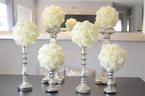 """Set of 6 Luxury Elegant 8"""" Wedding ivory hanging foam"""