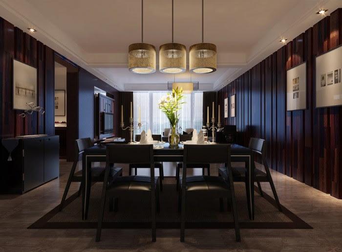 triple pendulum lit textured wood clad dining china