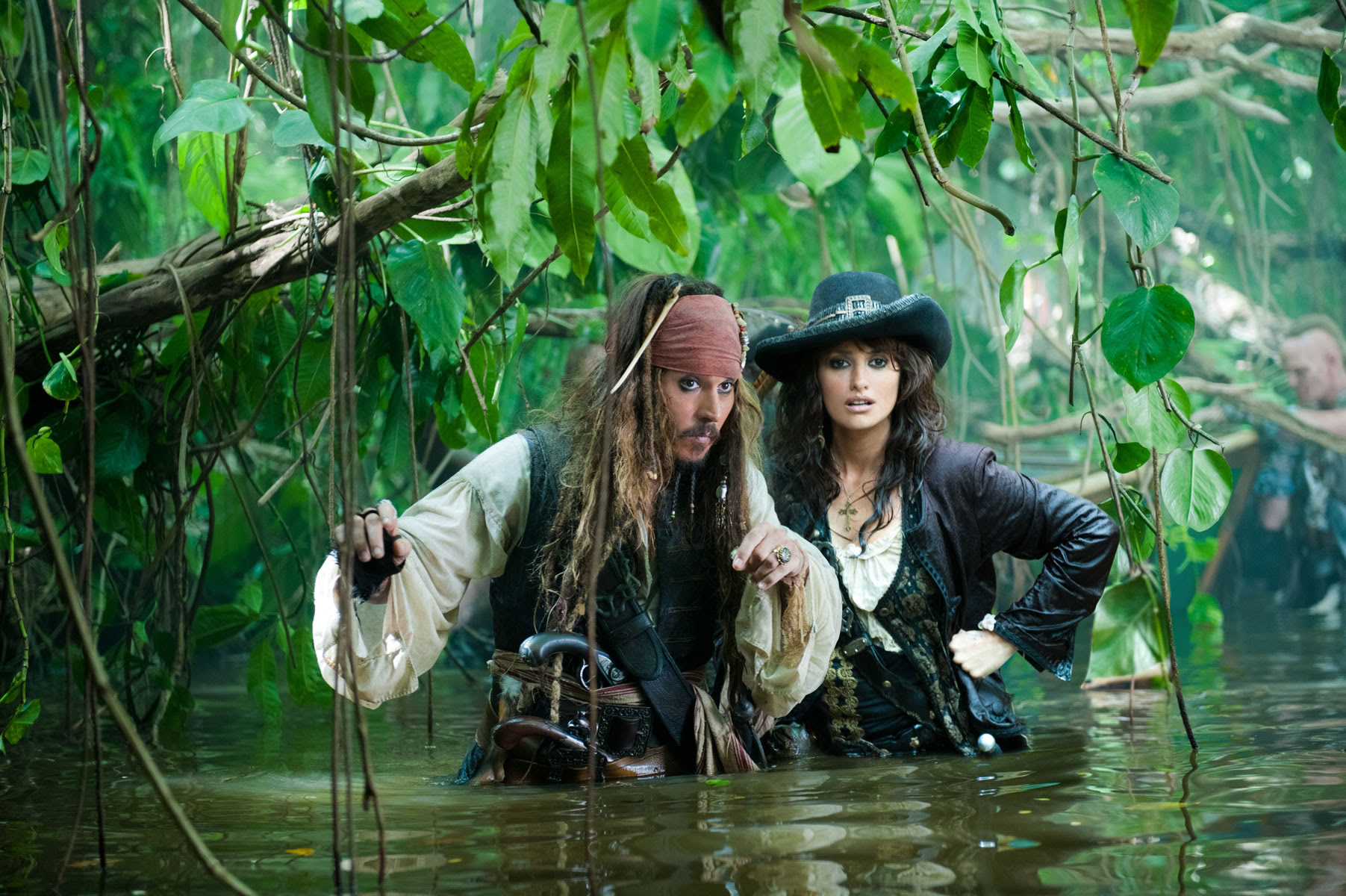 Angelica And Captain Jack Sparrow In Pirates Of The Caribbean
