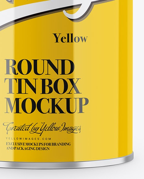 Download Can With Box Mockup Glossy Tin Can Box Mockup In Box Mockups On Yellow Images Object Yellowimages Mockups