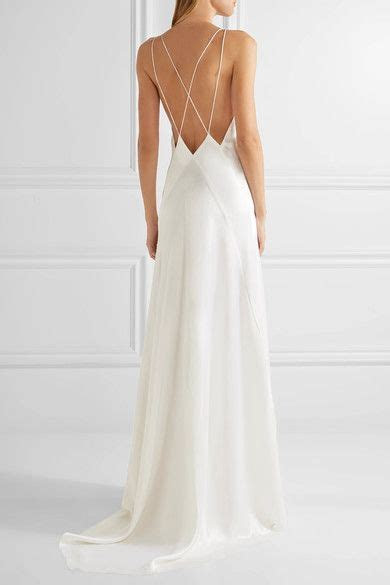 Unusual Idea White Silk Slip Wedding Dress Crepe V Neck