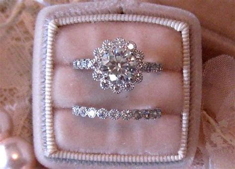 Vintage Inspired Diamond Halo Wedding Set: Filigree