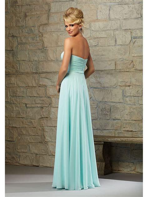 Long Blue Strapless Chiffon Bridesmaid Dresses 5602113