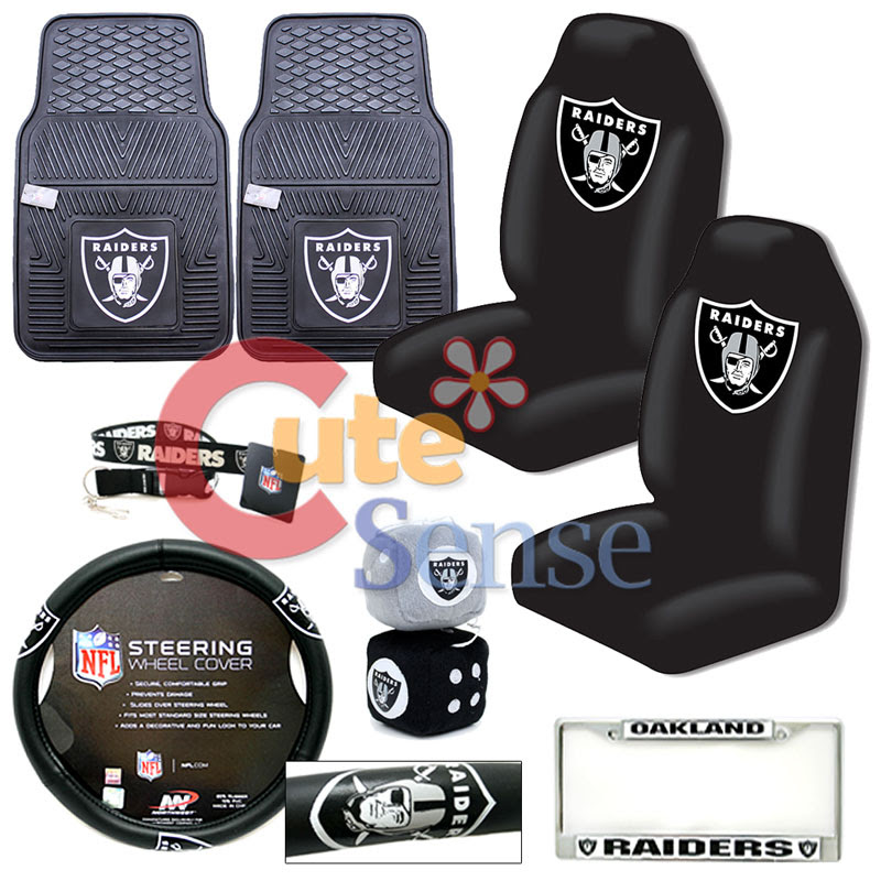 NFL Oakland Raiders Car Seat Cover Auto Accessories 8pc Set w/ Rubber Mat eBay