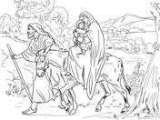 Dibujo De José Y María Junto Al Pequeño Jesús Para Colorear