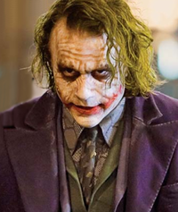 """Heath Ledger as the Joker.  The Joker's scruffy and grungy make-up is intended as a reflection of his """"edgy"""" character."""