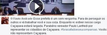 Justiça condena casal por ofender prefeito de Caçapava (Reprodução/Facebook)
