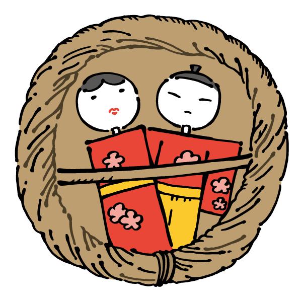 無料素材 藁で編んだ流し雛を描いたイラスト昔ながらのひな祭りの
