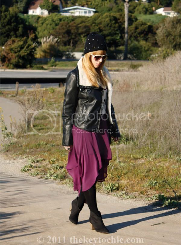 Zara studded beanie, H&M aviator jacket, Foreign Exchange high low skirt, Mossimo Kacey boots, Los Angeles fashion blogger