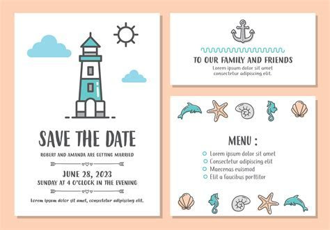 Beach Wedding Invitation Card Template   Download Free