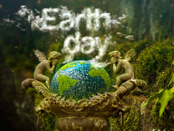 Earth Day and Realistic Clouds Text Effect Photoshop Tutorial plus Clouds Brushes.