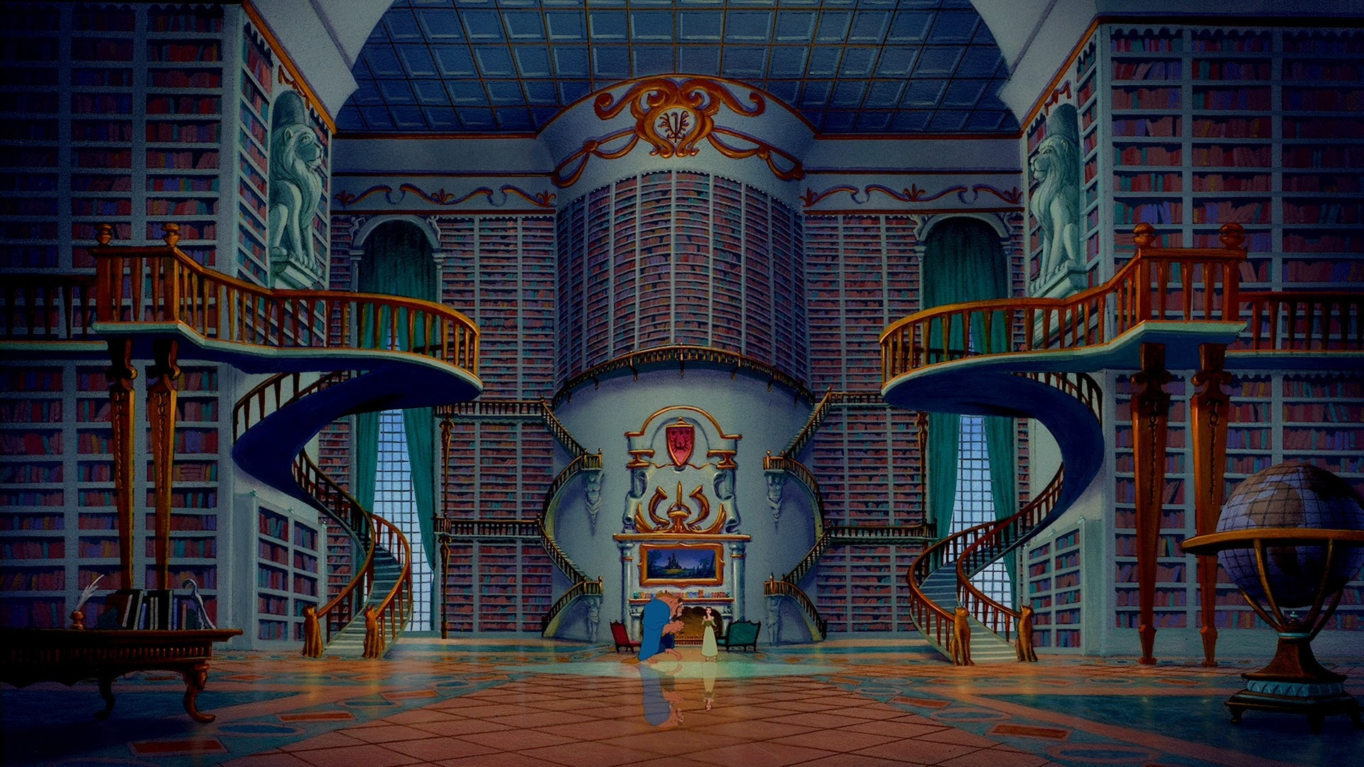 Movies Library Disney Beauty And The Beast 1920x1080 Wallpaper