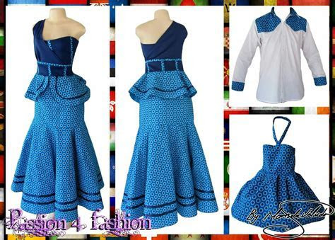 Blue shweshwe modern traditional dress with a once