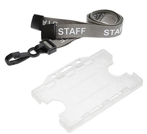 1254af421 Customcard Impreso cuello Lanyard Opaco de doble cara abierta de raso y  soporte para tarjeta de identificaci n color StaffGrey