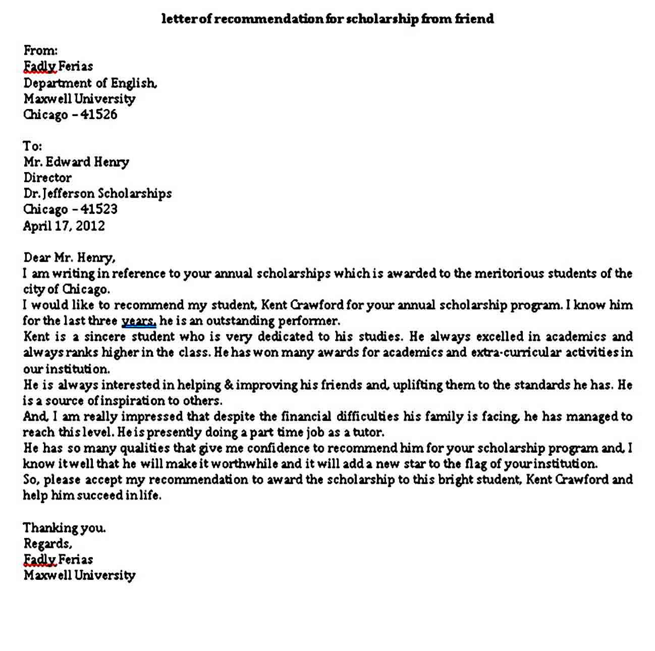 6 Scholarship Recommendation Letter Sample PDF Word | Mous ...