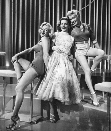 Marilyn Monroe, Lauren Bacall, and Betty Grable