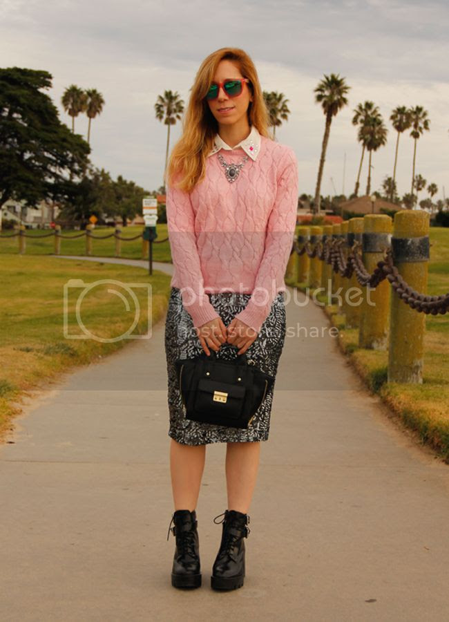 Los Angeles fashion blogger The Key To Chic wears an Xhilaration at Target sequin pencil skirt and Forever 21 cable knit with lug sole Zara boots