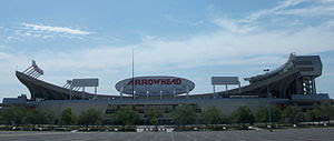 English: Exterior of Arrowhead Stadium in July...