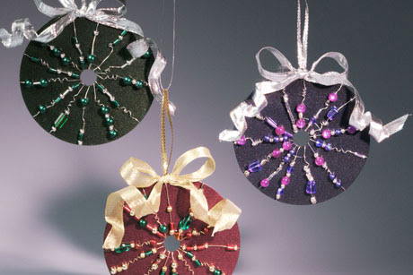 Beaded Recycled CD Ornament