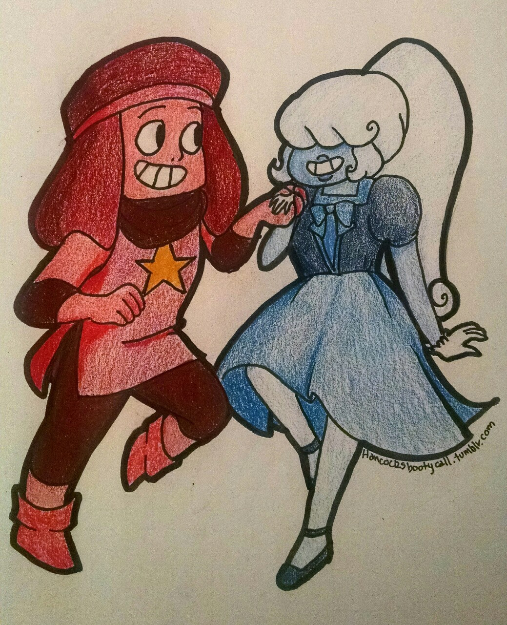 Ruby and Sapphire, from Steven Universe!! I always want to see more of them! And maybe more outfits too 😉 Done with pen and prismacolors 💜