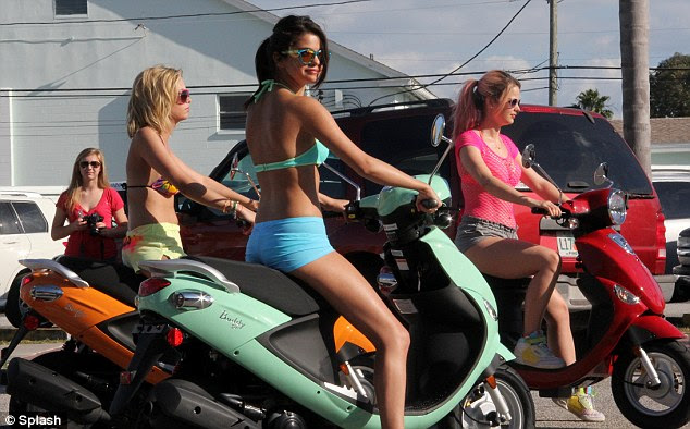 Party girl: Selena plays hard-partying character Faith in forthcoming crime thriller Spring Breakers