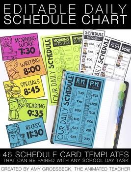 Editable Daily Schedule Chart by Amy Groesbeck | Teachers Pay Teachers