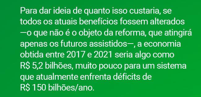 Para dar ideia de quanto isso custaria, se todos os atuais benefícios fossem alterados ?o que não é o objeto da reforma, que atingirá apenas os futuros assistidos?, a economia obtida entre 2017 e 2021 seria algo como R$ 5,2 bilhões, muito pouco para um sistema que atualmente enfrenta déficits de R$ 150 bilhões/ano.