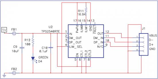 TPS2540 usb charging
