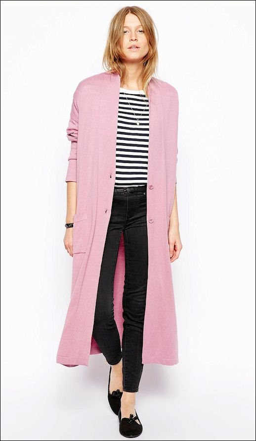 Le Fashion Blog Long Pink Cardigan Striped Tee Black Skinny Jeans Tasseled Loafers Classic Style photo Le-Fashion-Blog-Long-Pink-Cardigan-Striped-Tee-Black-Skinny-Jeans-Tasseled-Loafers-Classic-Style.jpg