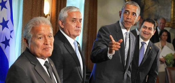 President Obama at the White House with presidents Salvador Sanchez Ceren of El Salvador, Otto Perez Molina of Guatemala and Juan Orlando Hernandez of Honduras.
