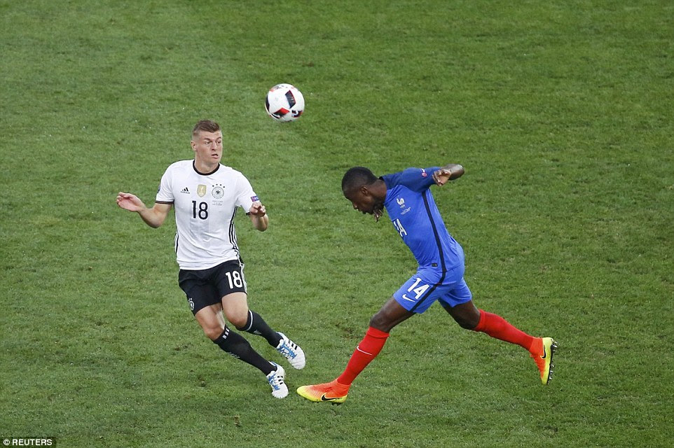 Matuidi, starting in a holding midfield role alongside Paul Pogba, beats Tony Kroos to an aerial challenge