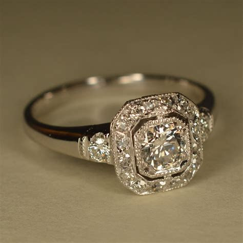 RESERVED: Art Deco Inspired Wedding Ring Platinum and 14k