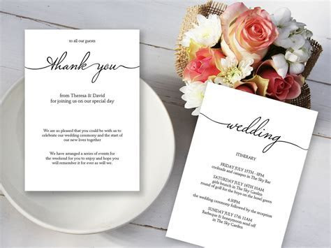 Wedding Thank You Itinerary Template   Wedding Itineraries