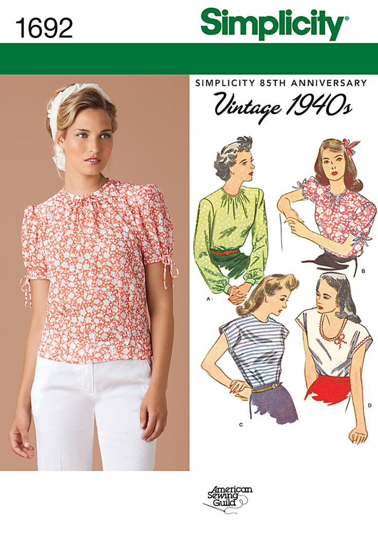 Simplicity Creative Group - Misses' 1940's Vintage Tops