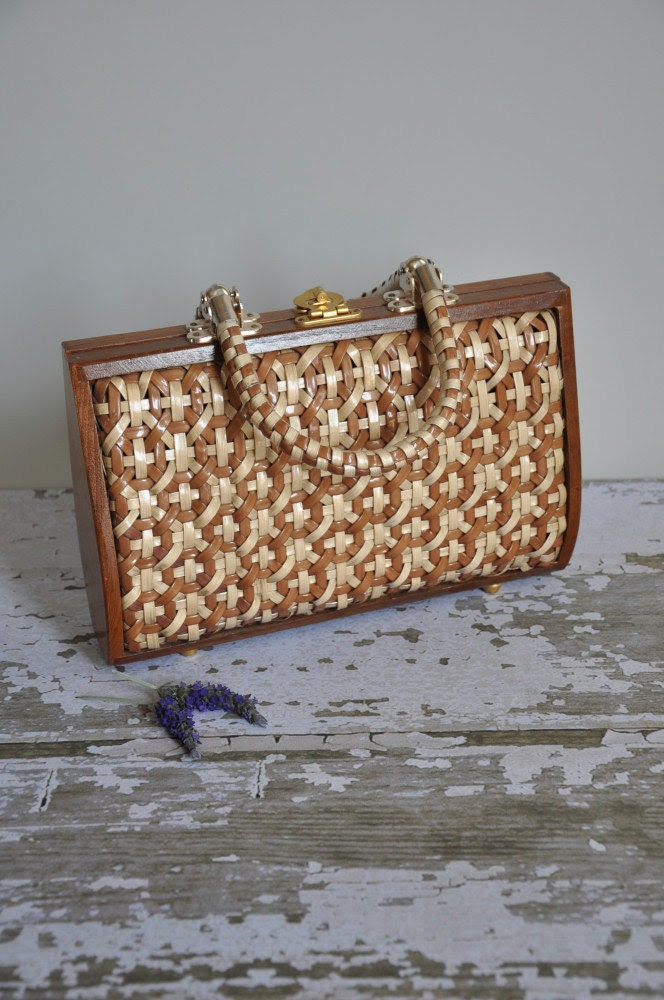 vintage 1960s Wood Pecker wicker handbag purse