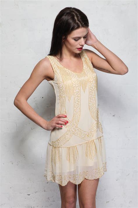 Cream Art Deco Flapper Dress   Beaded 1920s Dress