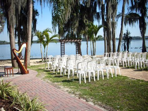 Wedding ceremony set up at Paradise Cove, Lake Buena Vista