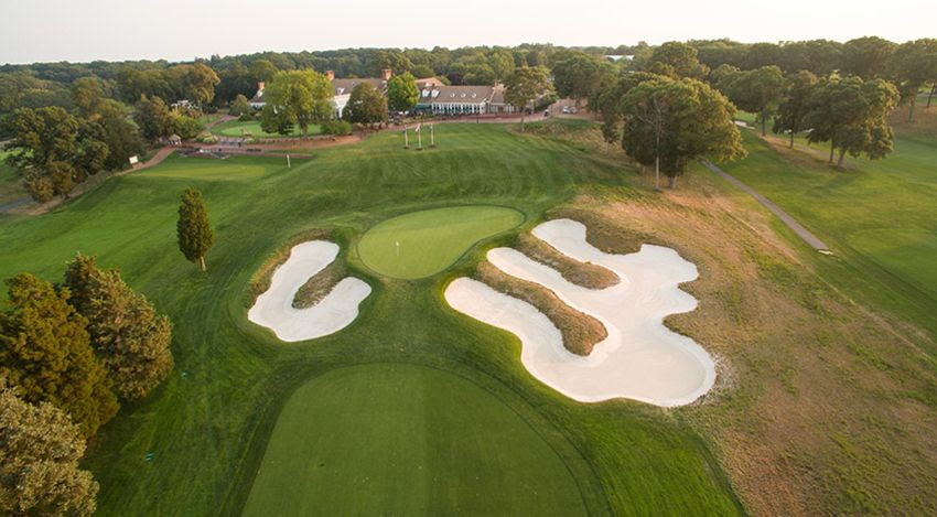 View of the Bethpage Clubhouse from the course