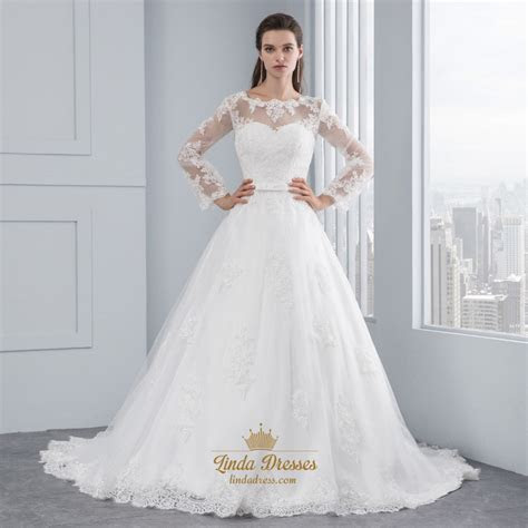 Illusion Sheer Long Sleeve Lace Applique Tulle Ball Gown
