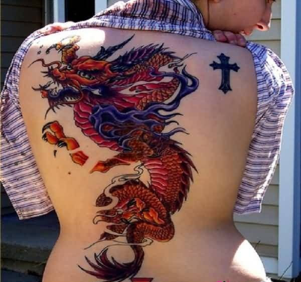 Simple Small Black Cross And Wonderful Red Dragon Tattoo Design Make