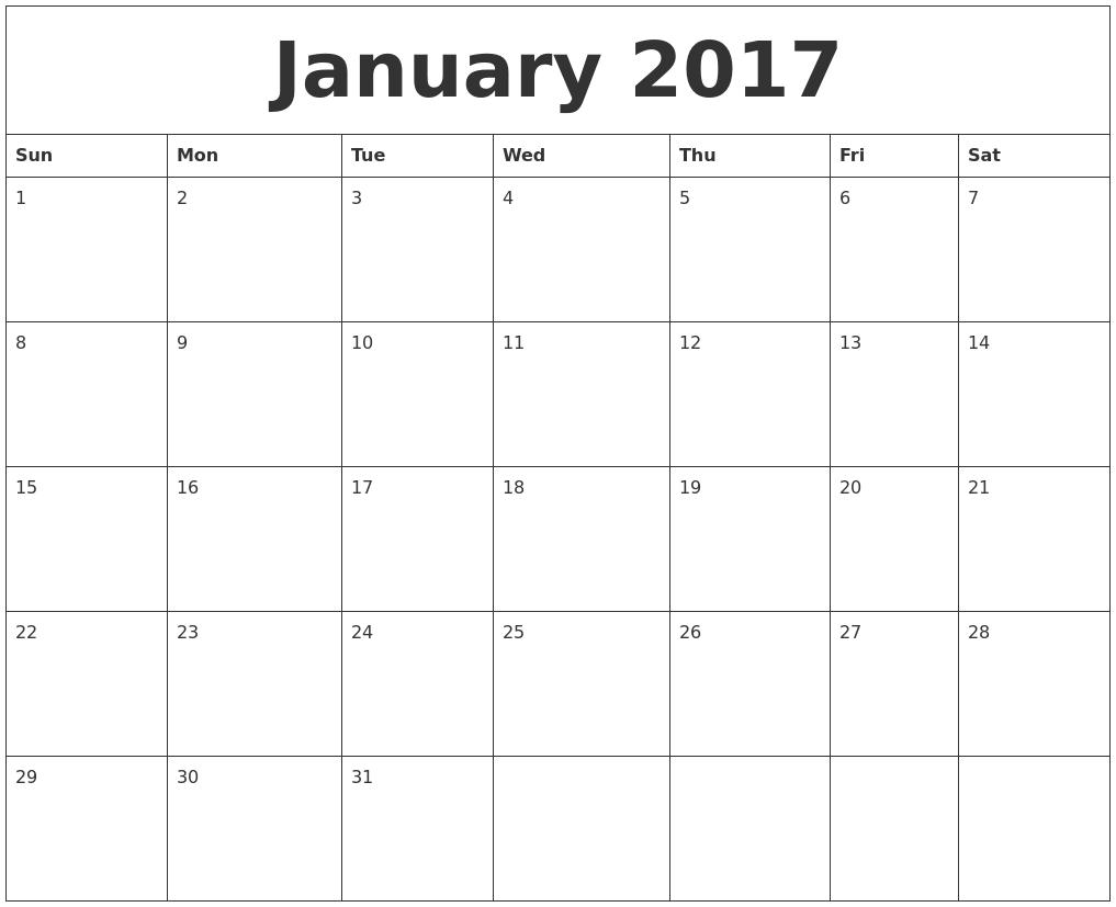 Daily Calendar 2017 Jan