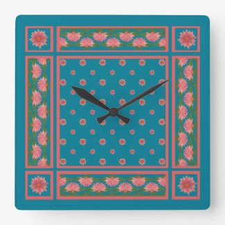 Pink Water Lilies on Deep Blue Square Wall Clock