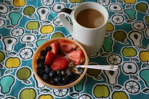 yogurt, berries, coffee