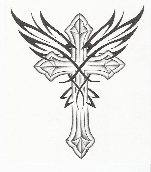 Tribal Wings And Cross Tattoo Design